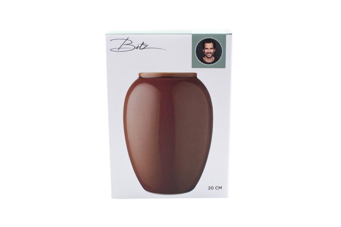 Bitz Vase , Steingut in Bernstein, 20cm hoch