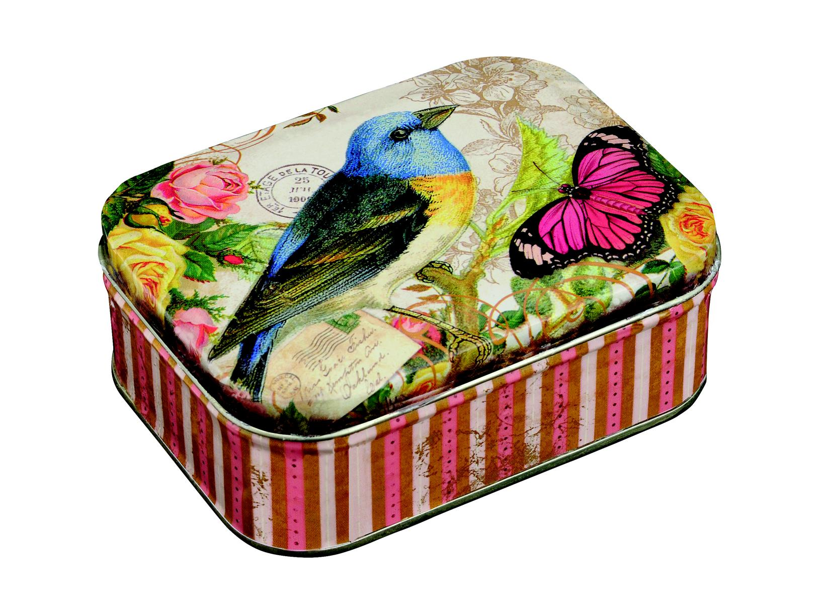 Nostalgie Blechdose Vogel Schmetterling Motiv, 11x8 cm