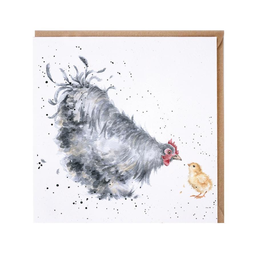 Wrendale Doppelkarte mit Umschlag, Motiv Huhn mit Küken, Quadratisch, 15x15 cm