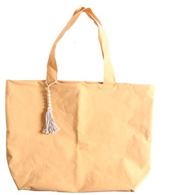Strandtasche/Schoppingtasche XXL, Kunststoff in Textiloptik, Farbe Ockagelb, 40x65 cm