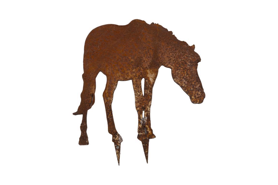 Bauernhoftiere zum Stecken, Pferd grasend, mini, Edelrost, 12x14cm