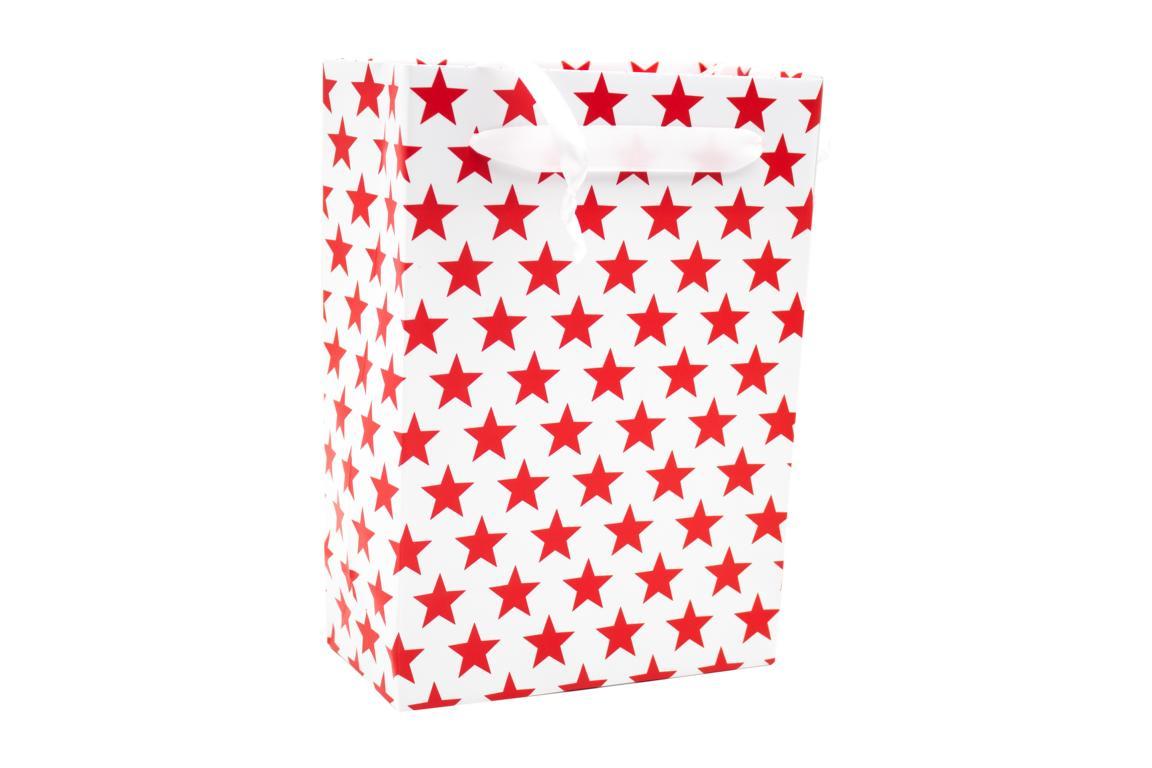 Geschenktüte Weihnachten, weiß mit roten Sternen H 20x B 16 cm