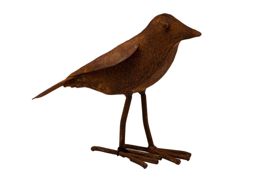 Singvogel, Plastisch, lange Beine, Edelrost, L 26cm x H17cm