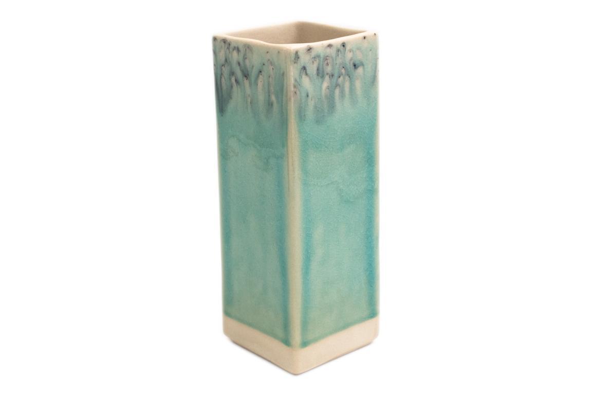 Costa Nova, Vase quadratisch, Madeira, blau, 20x7x7 cm
