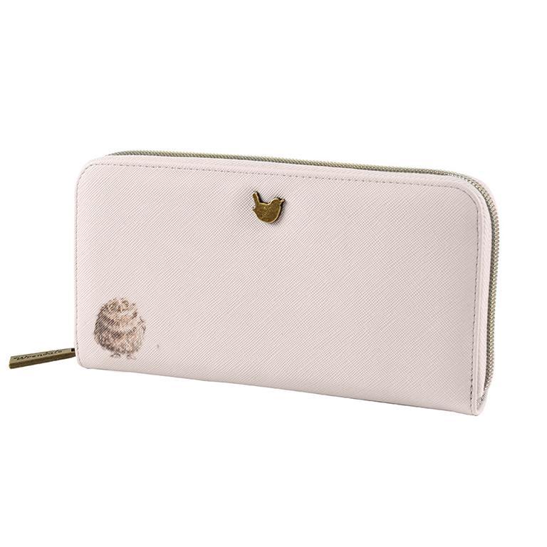 Wrendale Geldbörse groß, mit Reißverschluss, Motiv zwei Eulen kuscheln, beige, 19x10x2cm
