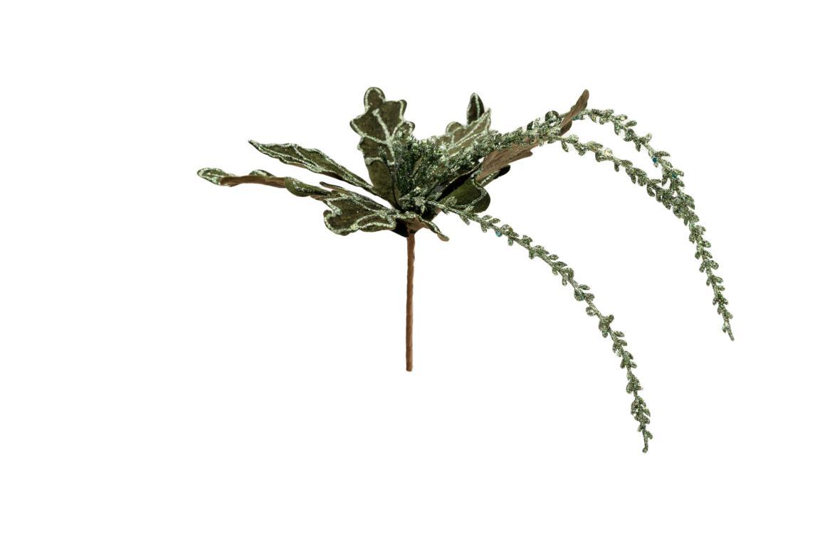 Colmore Blüte mit Glitzer, künstlich, grün, mit 3 längeren Zweigen, 28x20x20cm