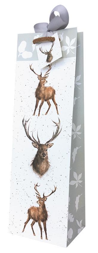 Wrendale Geschenktüte für Weinflaschen, Motiv Hirsch, H 37 cm