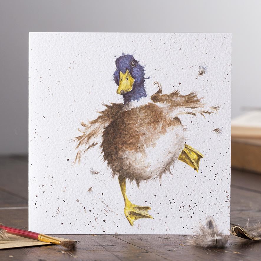 Wrendale Doppelkarte mit Umschlag, Motiv Ente laufend, Quadratisch, 15x15 cm