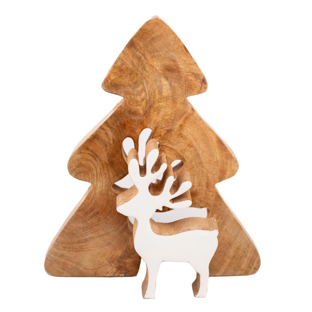 Tannenbaum aus Holz groß, mit herausnehmbarem Rentier, Rentier in weiß, 20x2,5x24,5cm