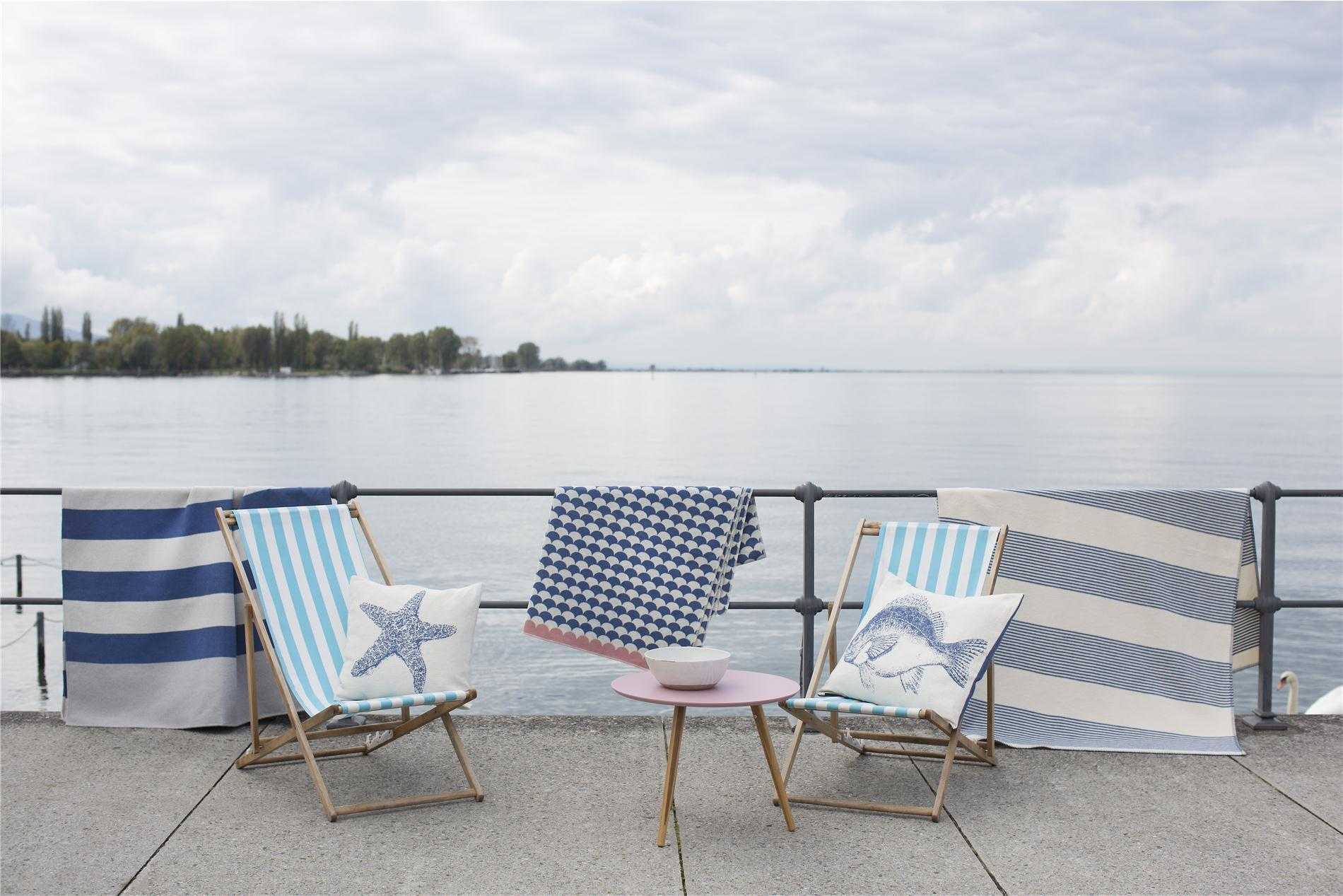 DAVID FUSSENEGGER Decke, Bettüberwurf Nova, Blockstreifen grau/blau, golfo,145x220 cm