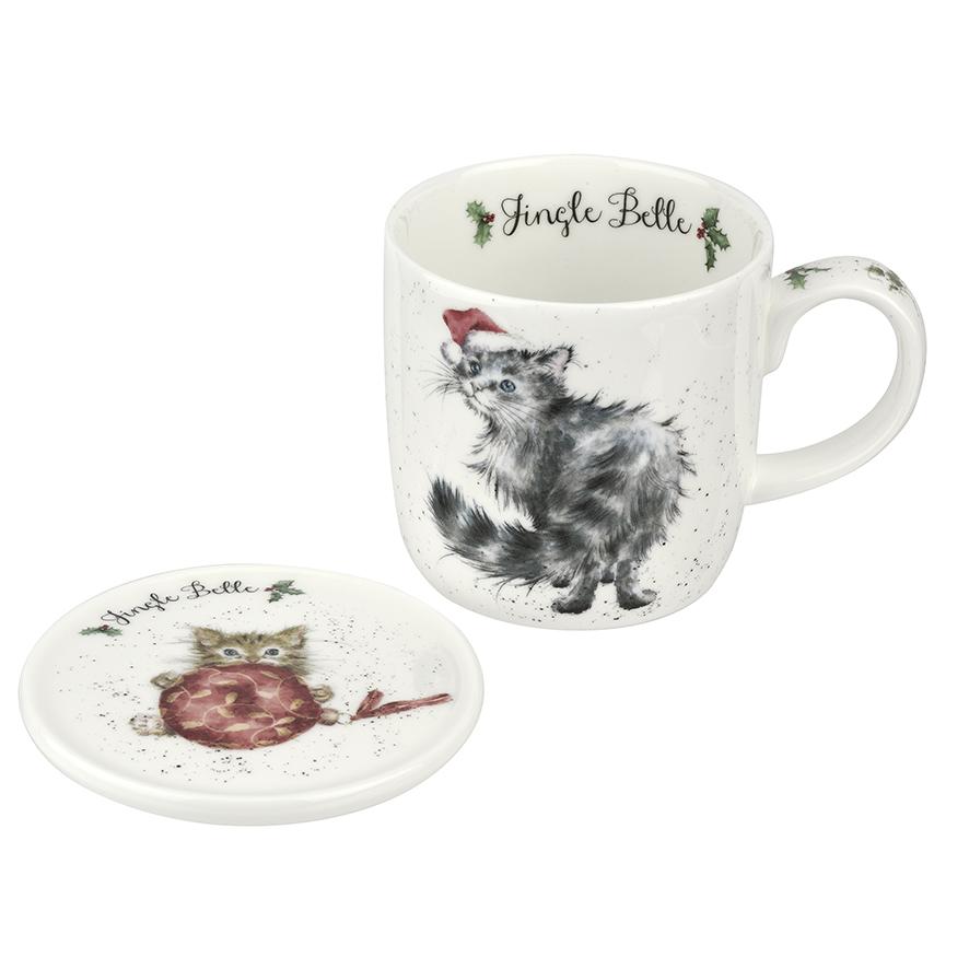 """Wrendale Becher Weihnachten mit Untersetzer """" Jingle Belle """" Motiv weihnachtliche Katzen , in Geschenkverpackung , 18,5 x 9 x 11 cm"""