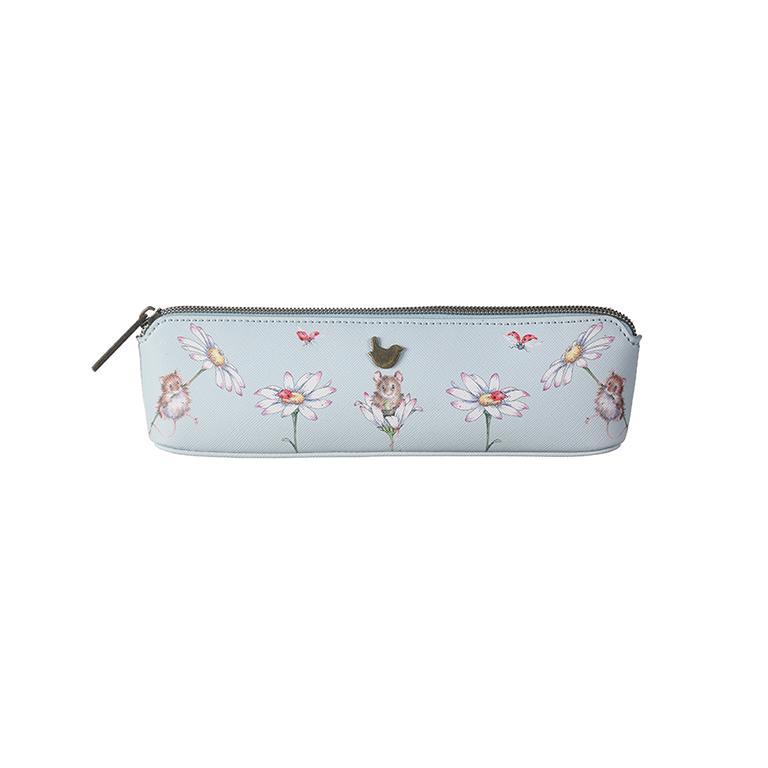 "Wrendale Make-up Pinsel/Stifte Tasche, Motiv Maus im Gänseblümchen ""Mouse in a Daisy"", hellblau, 20,5x5x6 cm"
