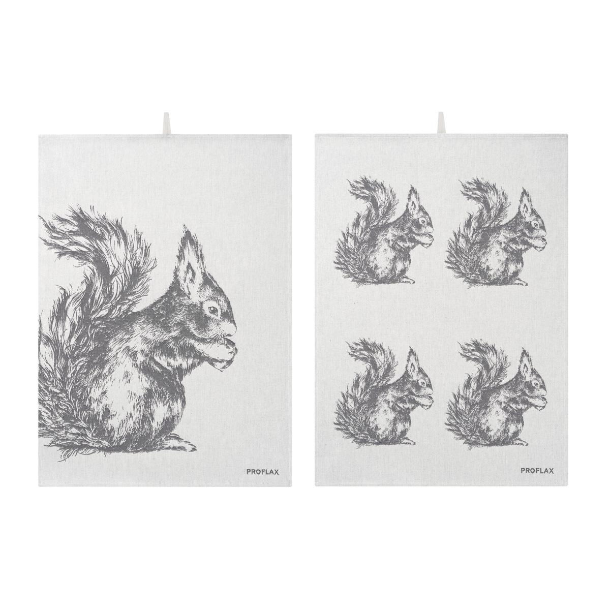 PROFLAX Geschirrtuch 2er Set, Motiv Eichhörnchen in Reihe und Eichhörnchen groß, grau, 50 x 70