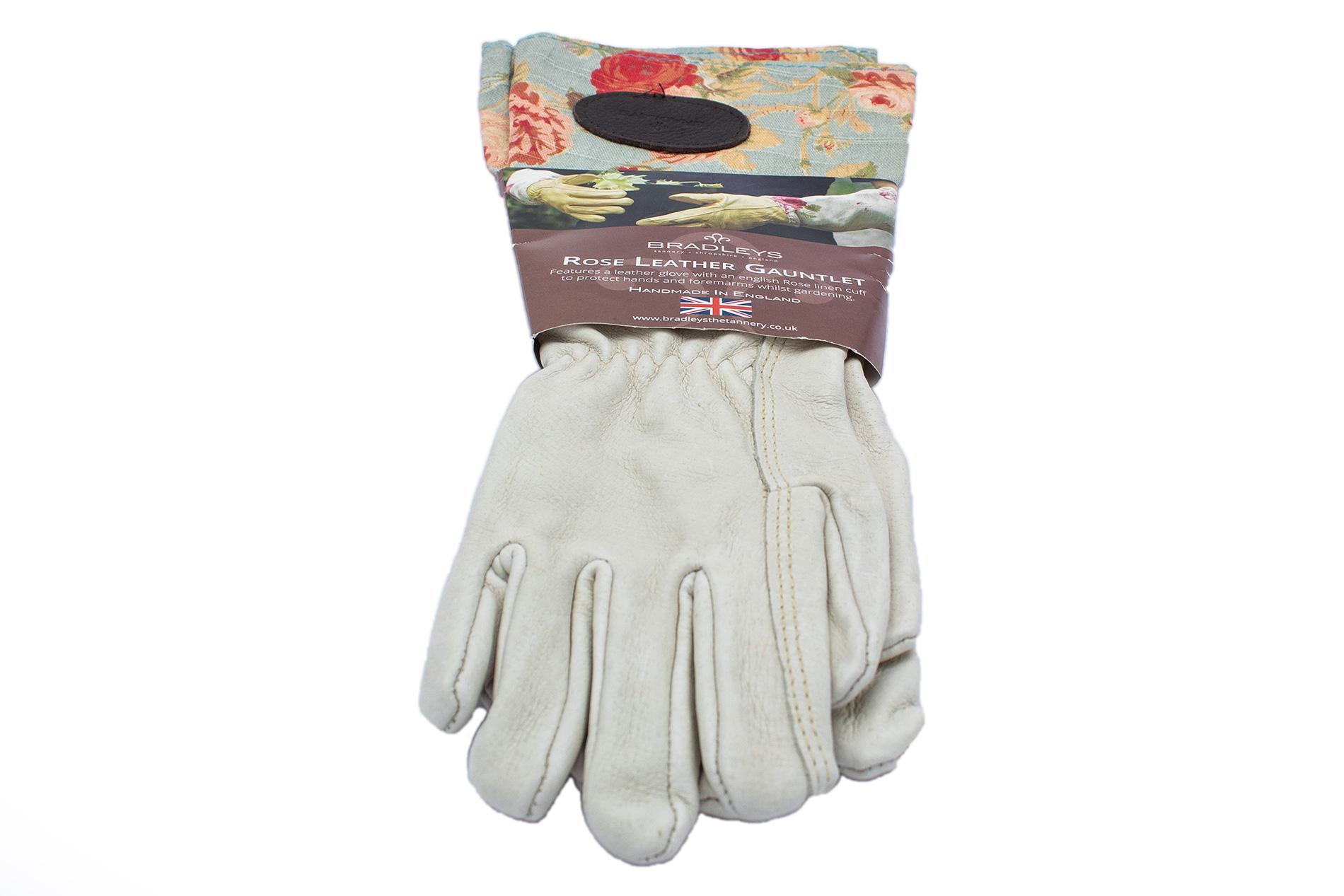 BRADLEYS Gartenhandschuhe lang, Leinen Rose blau, Gr. S (Hand Leder beige)
