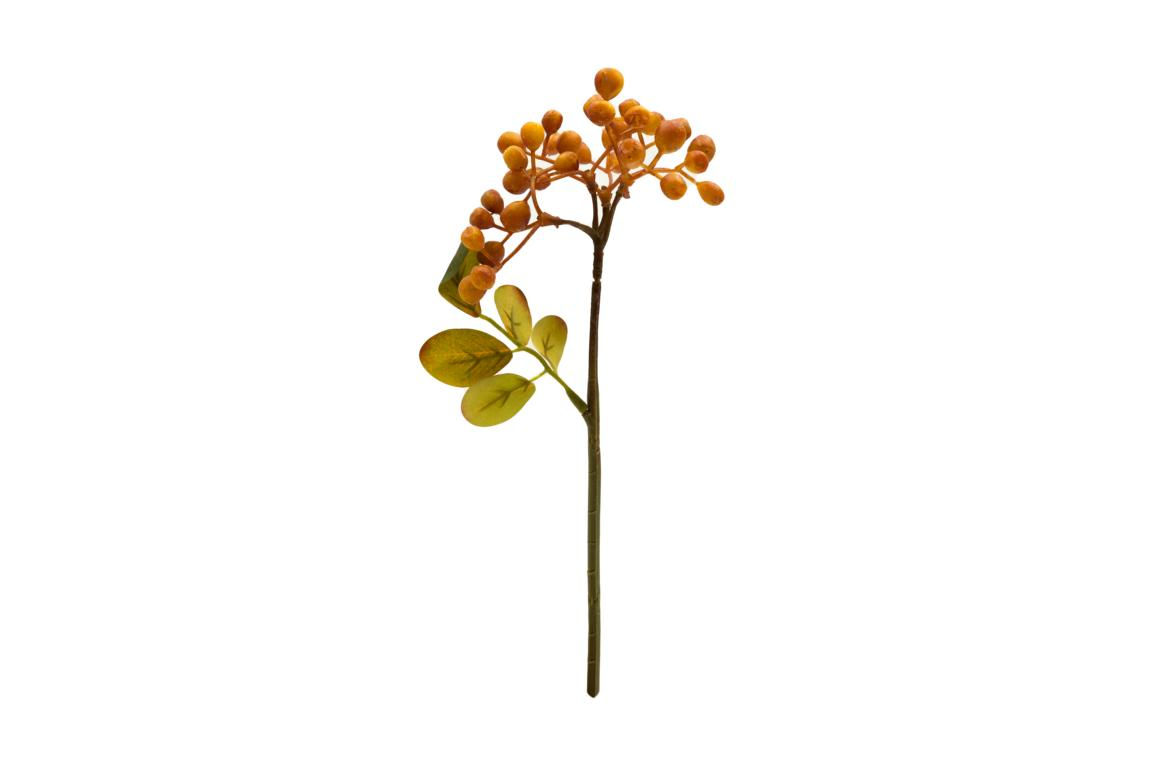 Beerenzweig mit Grün, Früchte in gelb/orange, 28cm