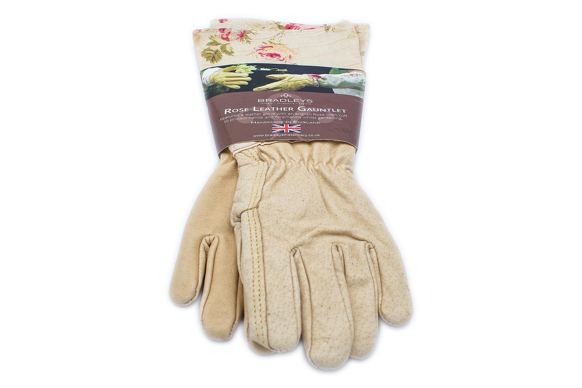 BRADLEYS Gartenhandschuhe lang, Leinen Rose beige, Gr. S (Hand Leder sand)