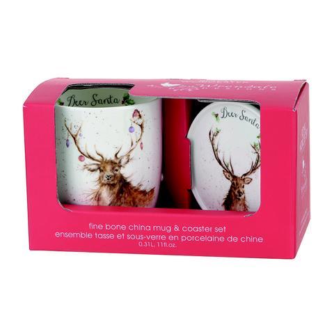 """Wrendale Becher Weihnachten mit Untersetzer """" Deer Santa """" Motiv weihnachtlicher Hirsch , in Geschenkverpackung , 18,5 x 9 x 11 cm"""