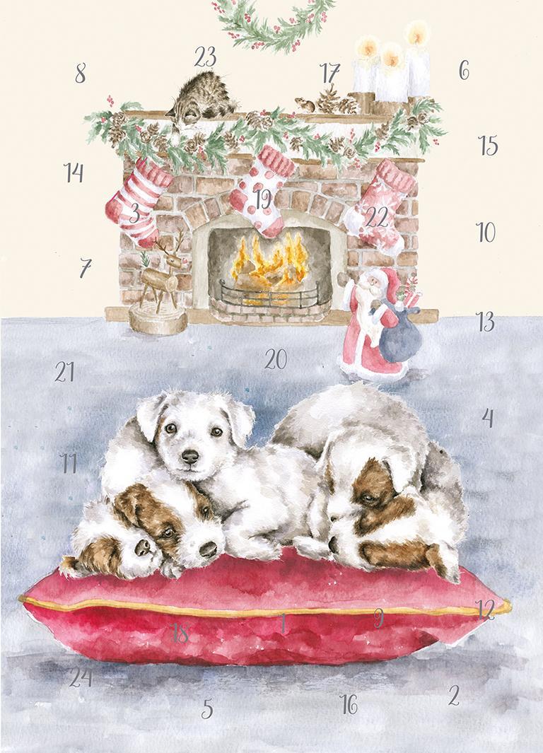 Wrendale Weihnachtskalender/Flachkalender, Motiv Hundewelpen vor einem Kamin, Din A4