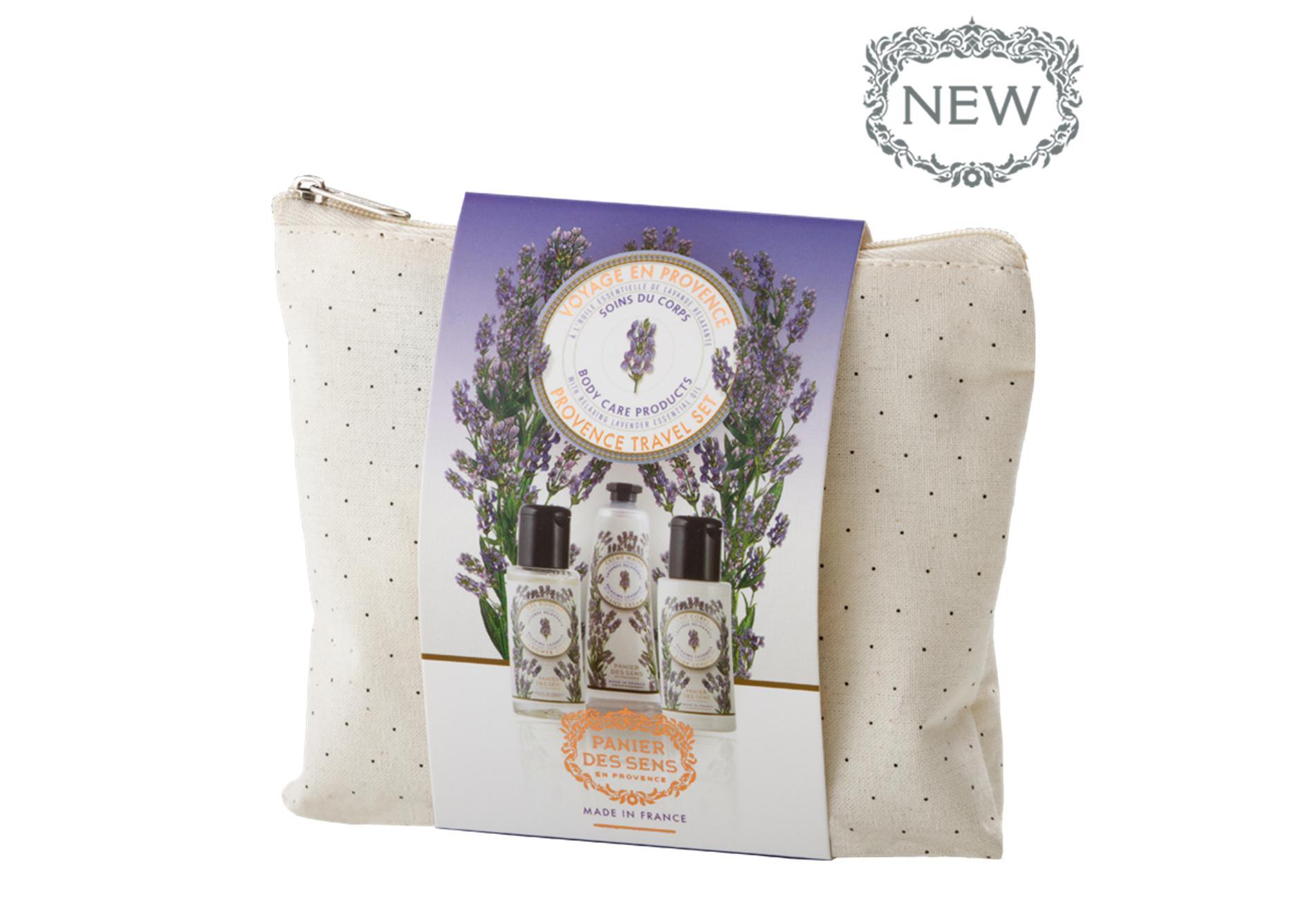 Panier des Sens Reisekit/Reisepflegeset Lavendel Duschgel 50 ml, Körperlotion 50 ml, Handcreme 30 ml