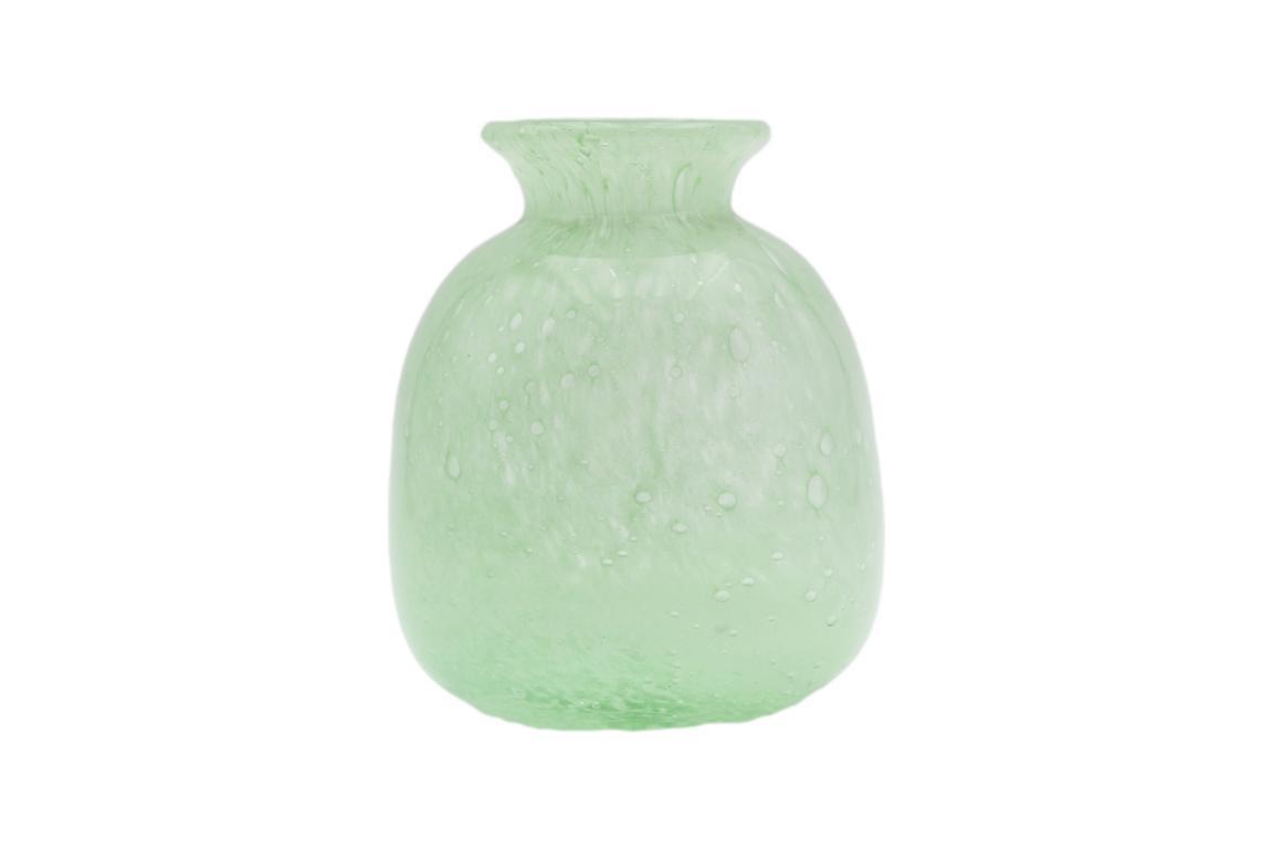 Colmore Vase aus Glas, klein, bauchig, pastell grün, 9x9x11cm