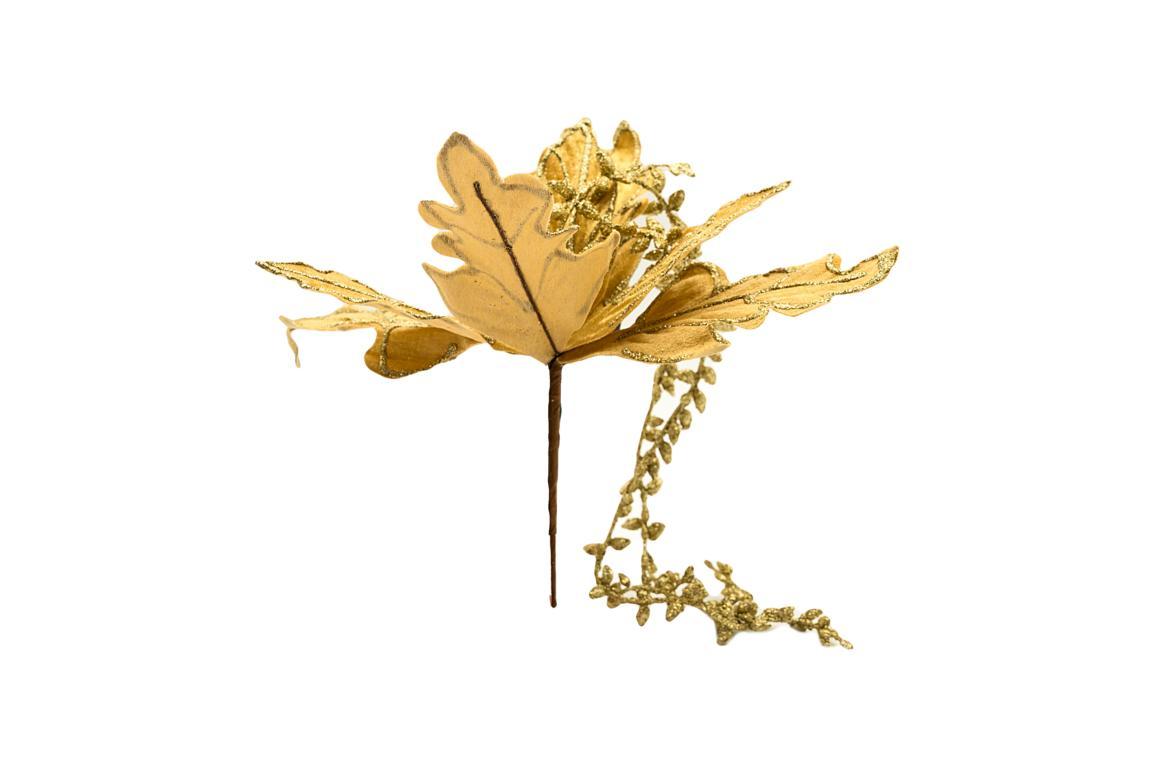 Colmore Blüte mit Glitzer, künstlich, gold, mit 2 längeren Zweigen, 28x20x20cm