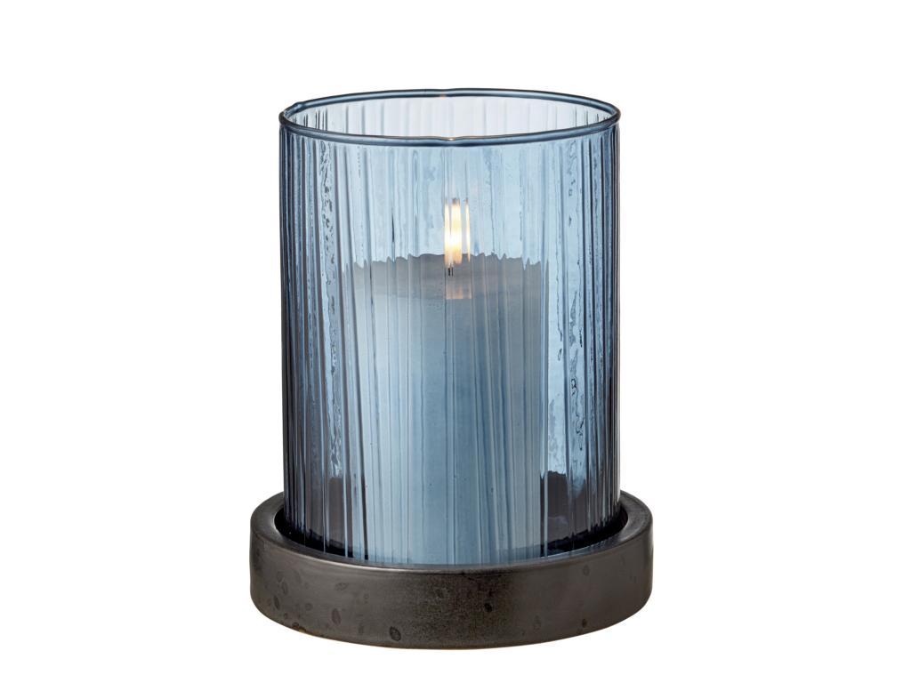 Bitz Windlichtglas, klein, Glas, blau, Teller aus Porzellan in anthrazit, inklusive LED Kerze mit  6 Stunden Timer, 15x18cm