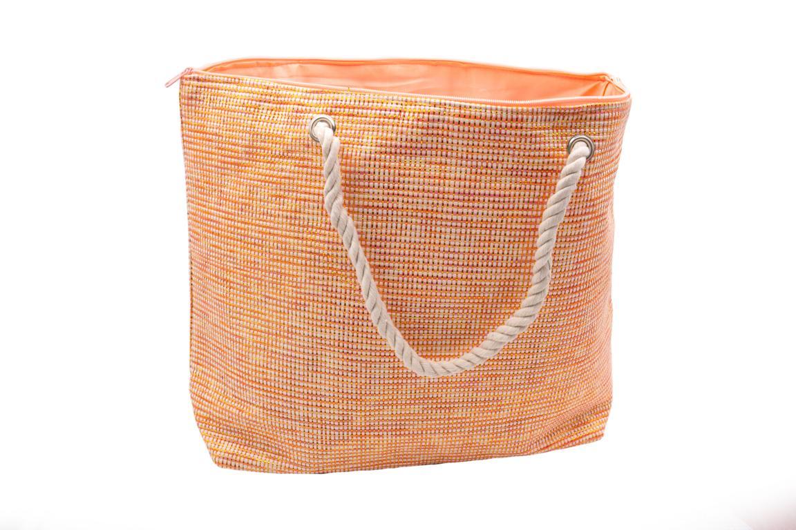 Strandtasche in Weboptik, orange mit Gold, Kordel als Tragegriff