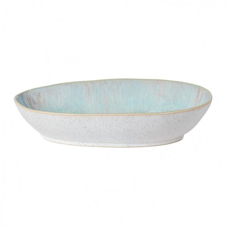 Casafina Eivissa Back/Auflaufform oval, innen meerblau, außen beige, gesprenkelt, 36x22x7cm