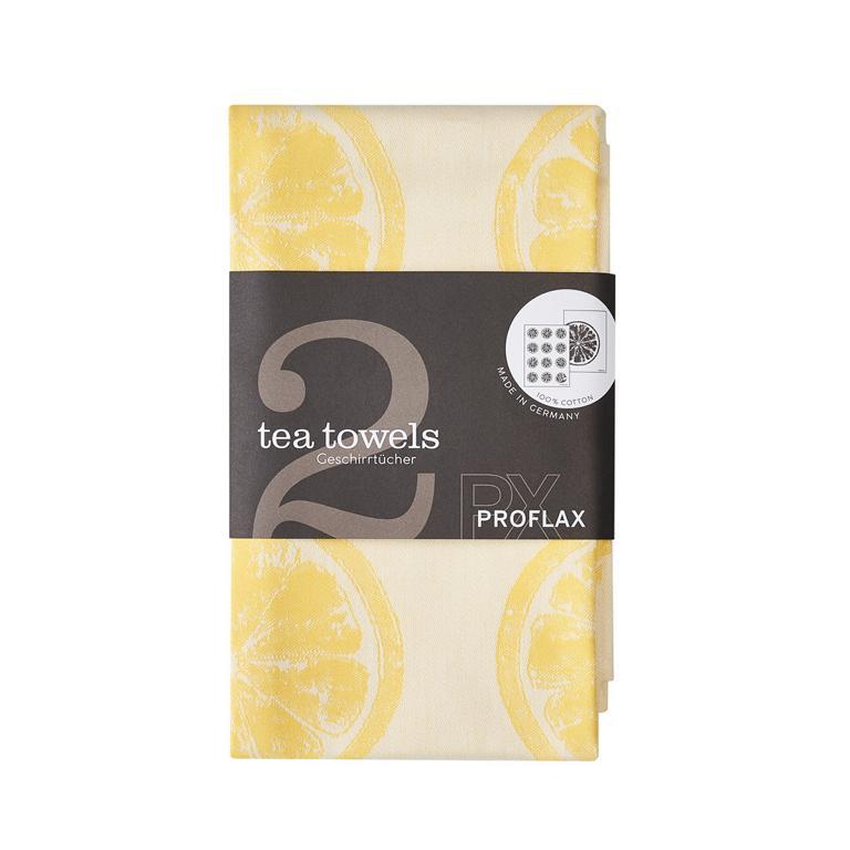 PROFLAX Geschirrtuch, 2er Set, Motiv Zitronen, gelb, 50x70cm, 100% Baumwolle