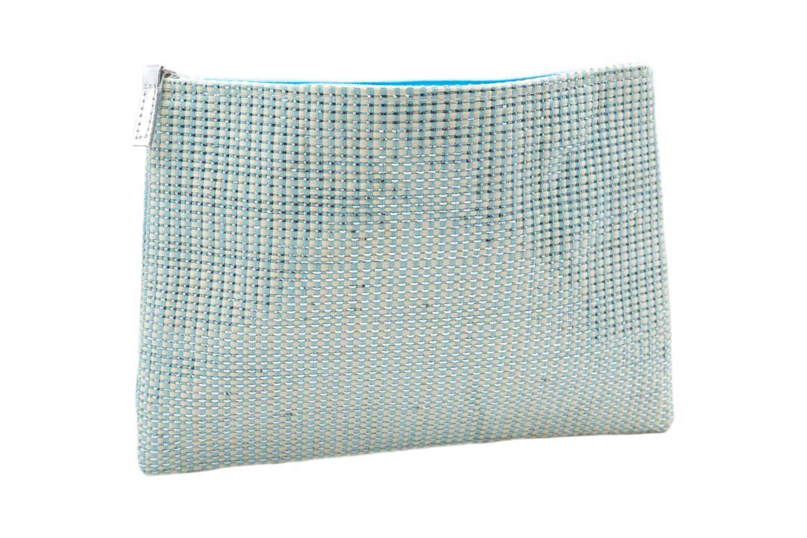 Kosmetiktasche, Weboptik, Aqua mit Silber, Reißverschluss, 28x20 cm