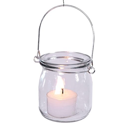 Glas Hängewindlicht mit Drahtbügel, 8x7 cm