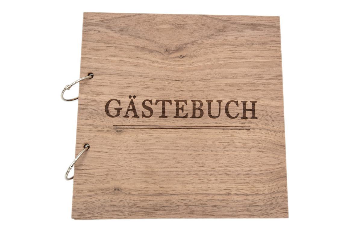 """Gästebuch mit Holzeinband, """"Gästebuch"""", 23x23 cm"""