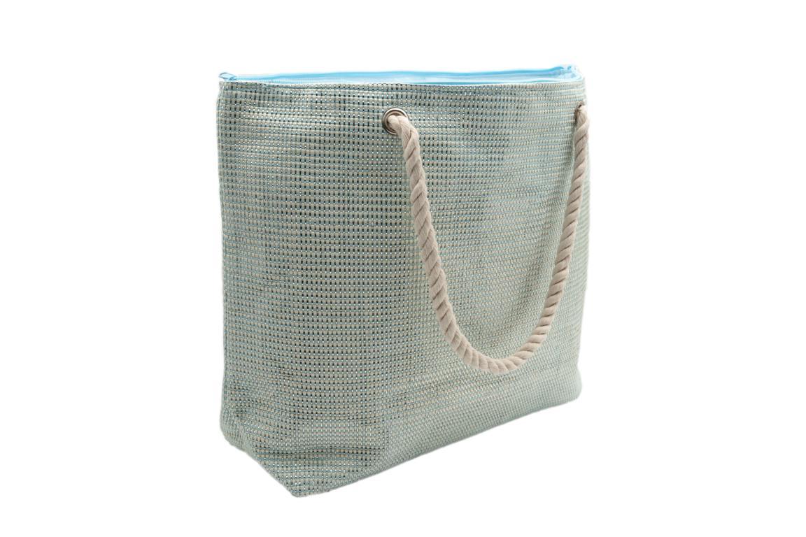 Strandtasche in Weboptik, Aqua mit Siber, Kordel als Tragegriff
