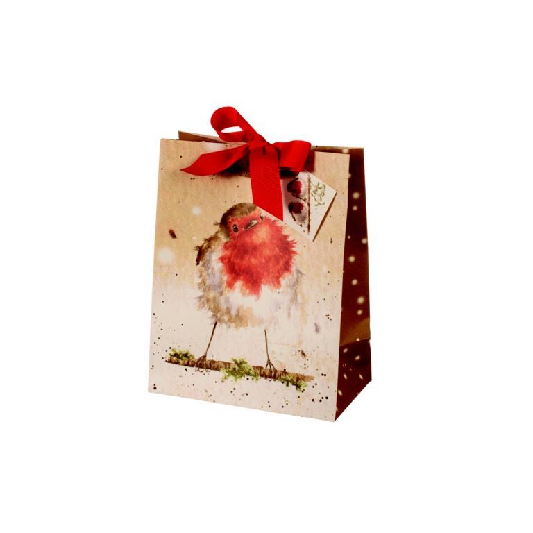 Wrendale Geschenktüte klein, Motiv Rotkehlchen, zum zu binden, H 19 cm