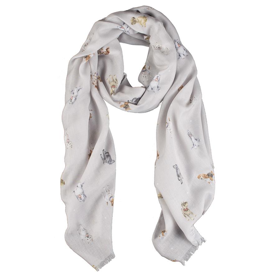 Wrendale Schal, grau, Motiv Hunde, inkl Geschenktüte 190x70cm