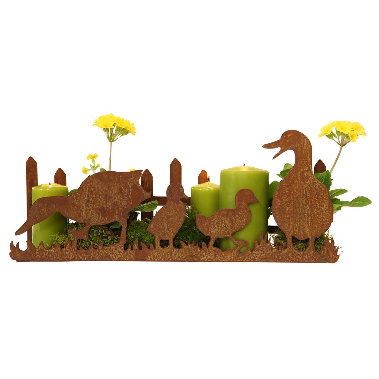 Entenfamilie mit Zaun auf Platte 20 x 50x 12 cm