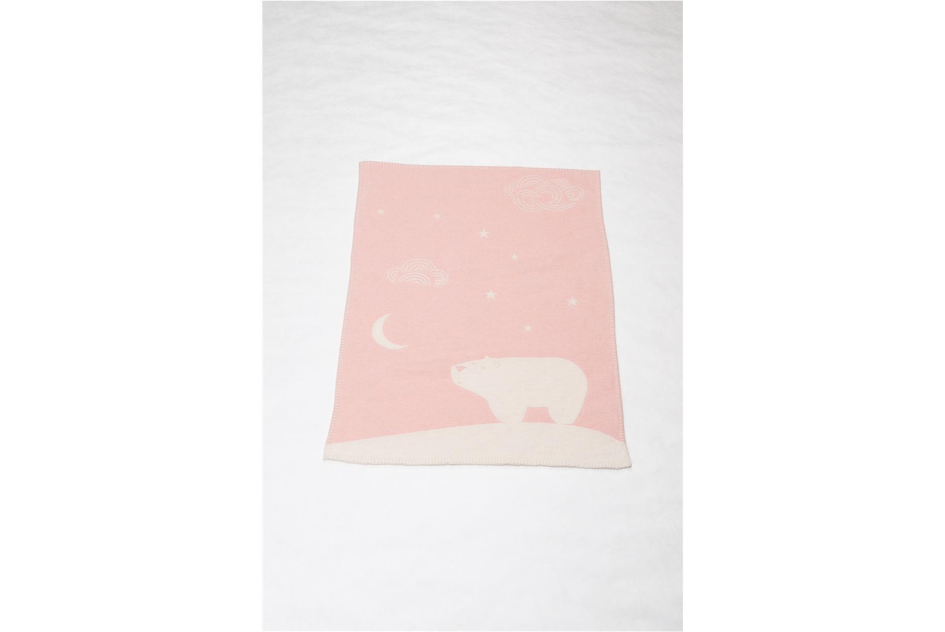 DAVID FUSSENEGGER Decke für Kinder mit Eisbär, rosa/weiß, 65 x 90 cm
