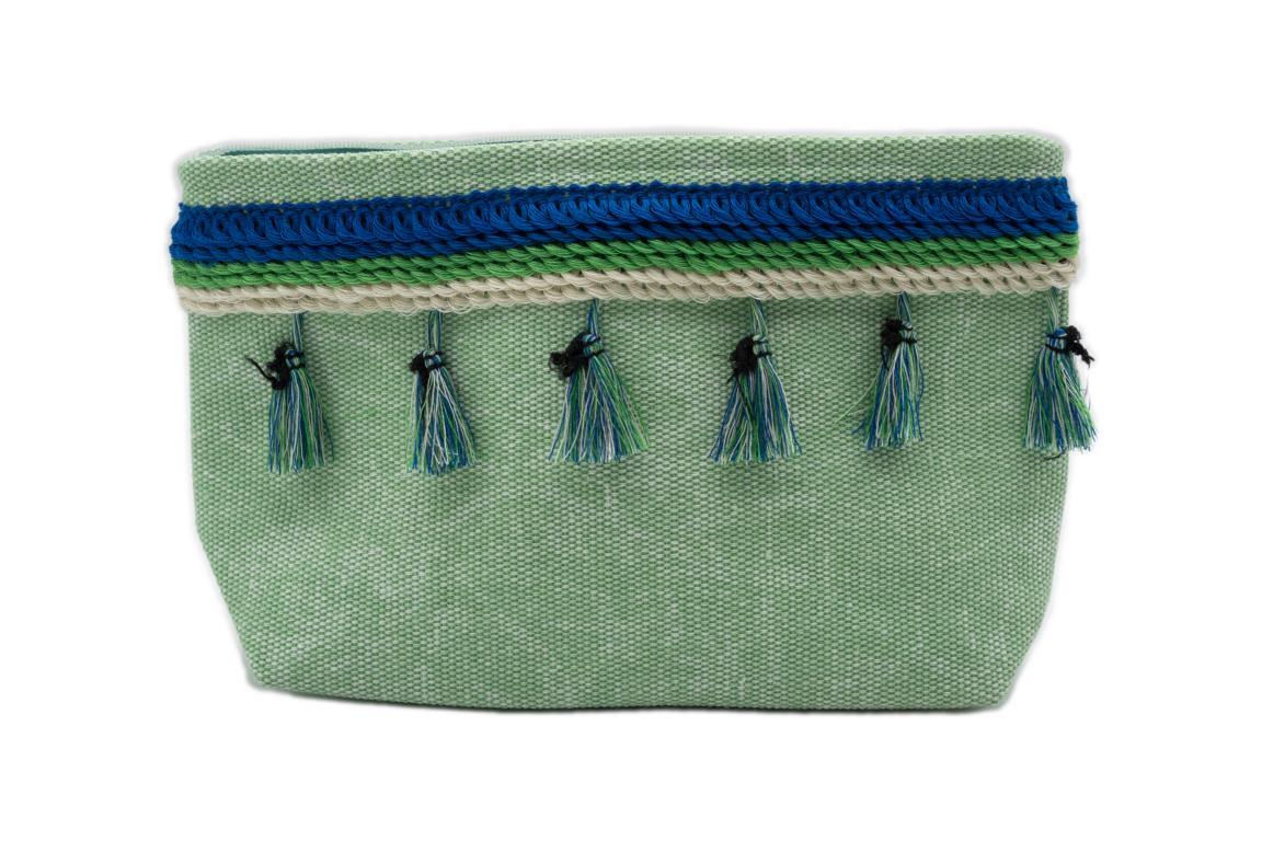 Kleine Kosmetiktasche, grün mit Troddeln und Reißverschluss
