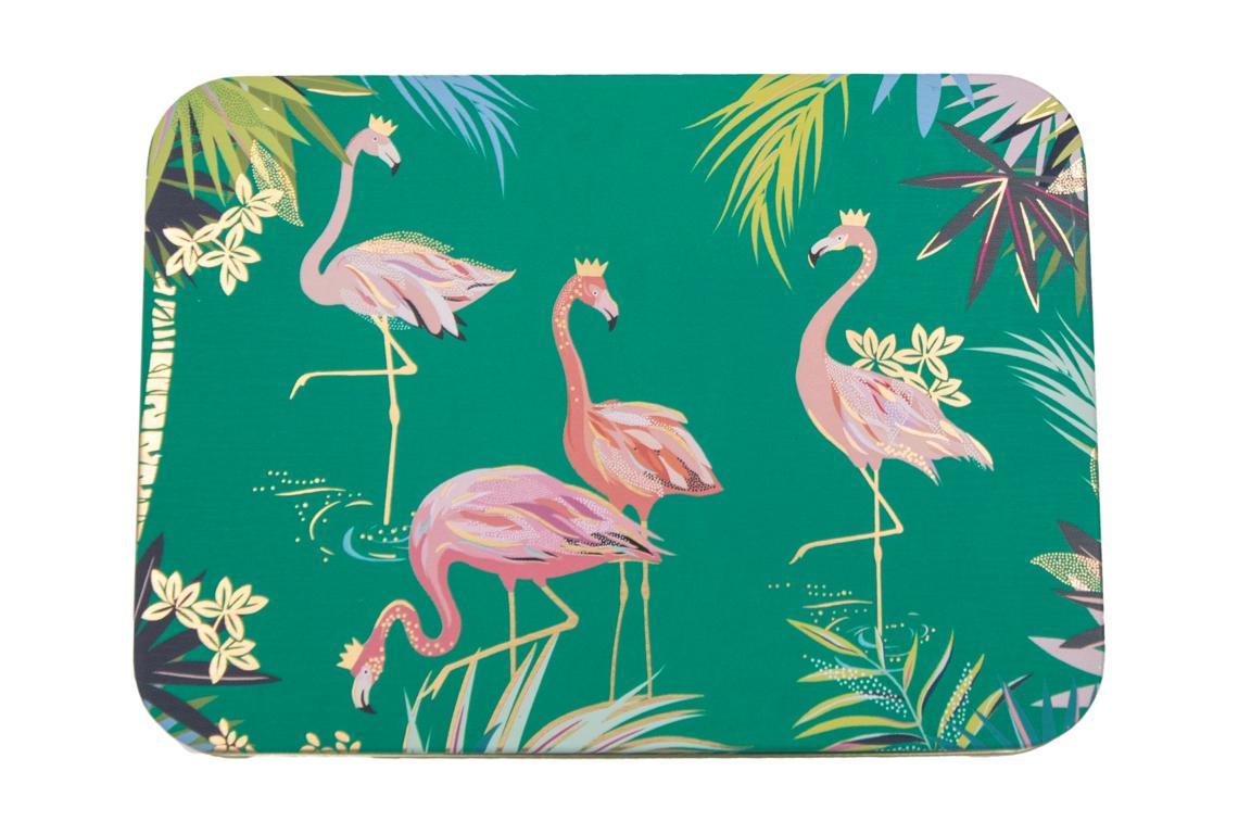 SARA MILLER Blechdosegrün, Motiv Falmingos, 14,5x10,5x3,5 cm