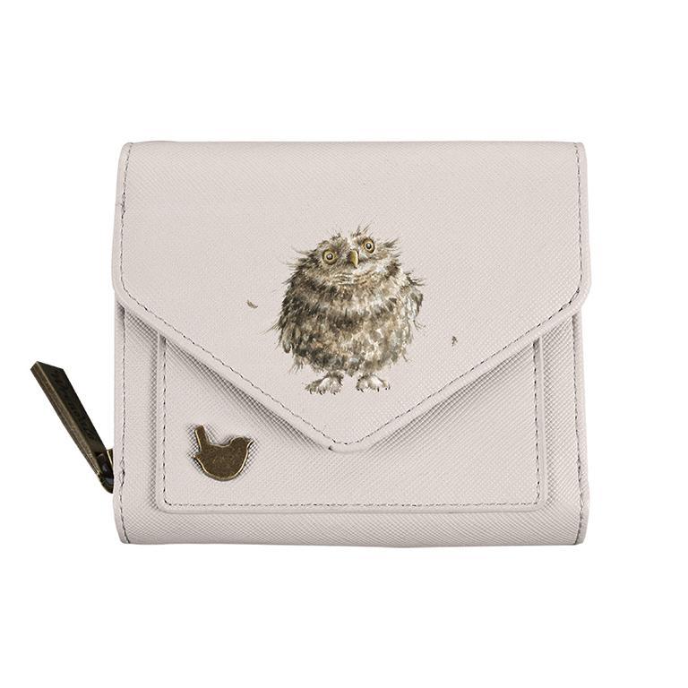 Wrendale Geldbörse klein, mit Druckknopf und Reißverschluss, Motiv Eulen, beige, 11x9x3cm