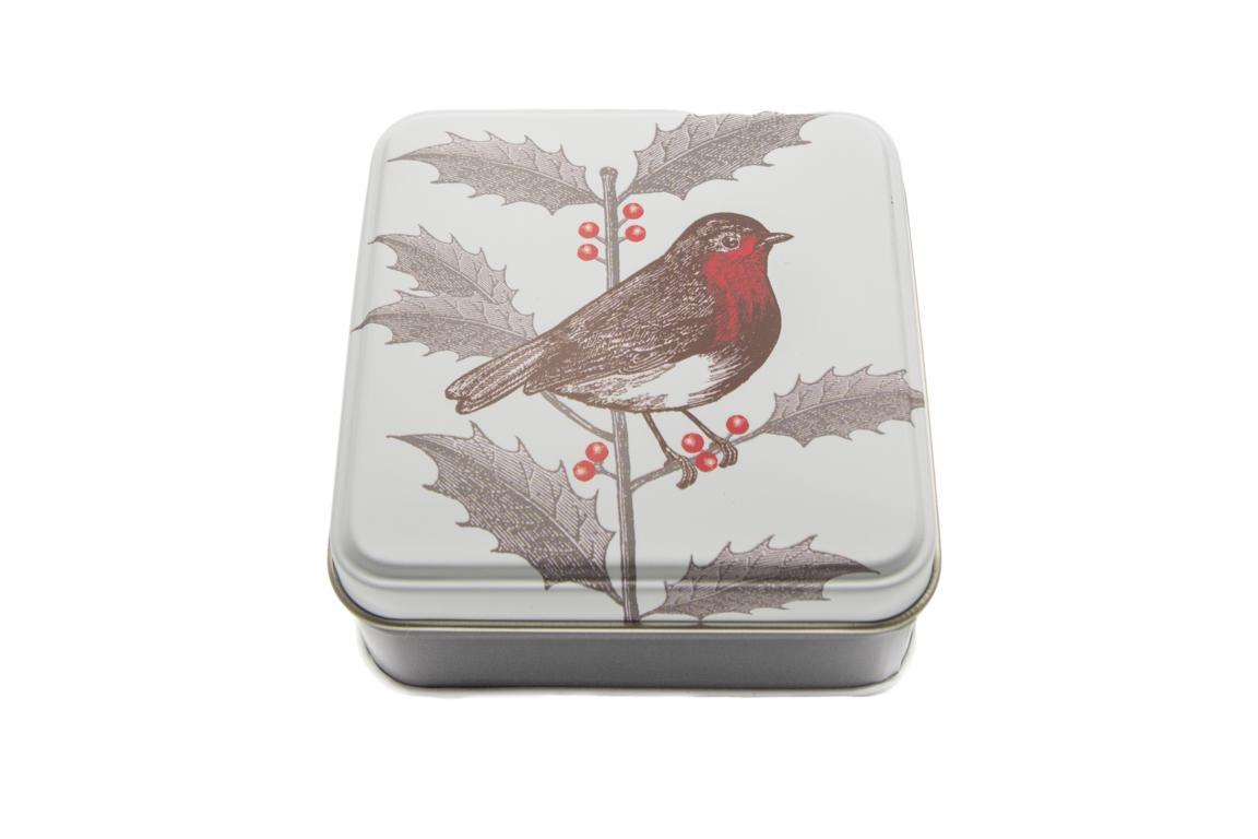 Thornback&Peel kleine Blechdose quadratisch, braun beige, Rotkehlchen auf Mistelzweig, 9x9x4 cm