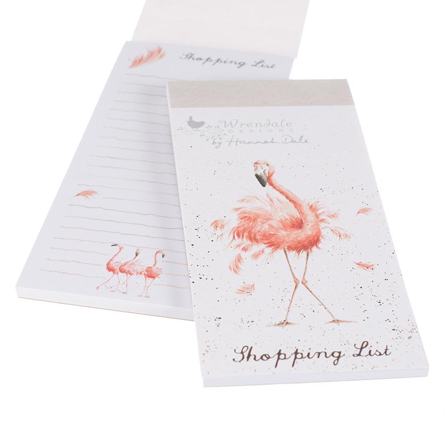 Wrendale Einkaufsblock mit Magnetstreifen, Motiv Flamingo, 21x10 cm
