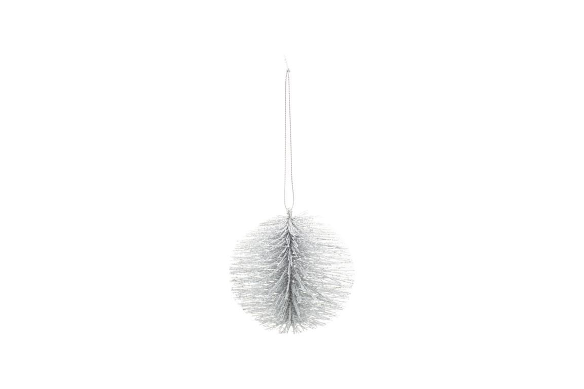 Christbaumkugel aus Kunststoffäden, silber glitter D 10cm, zum Aufhängen