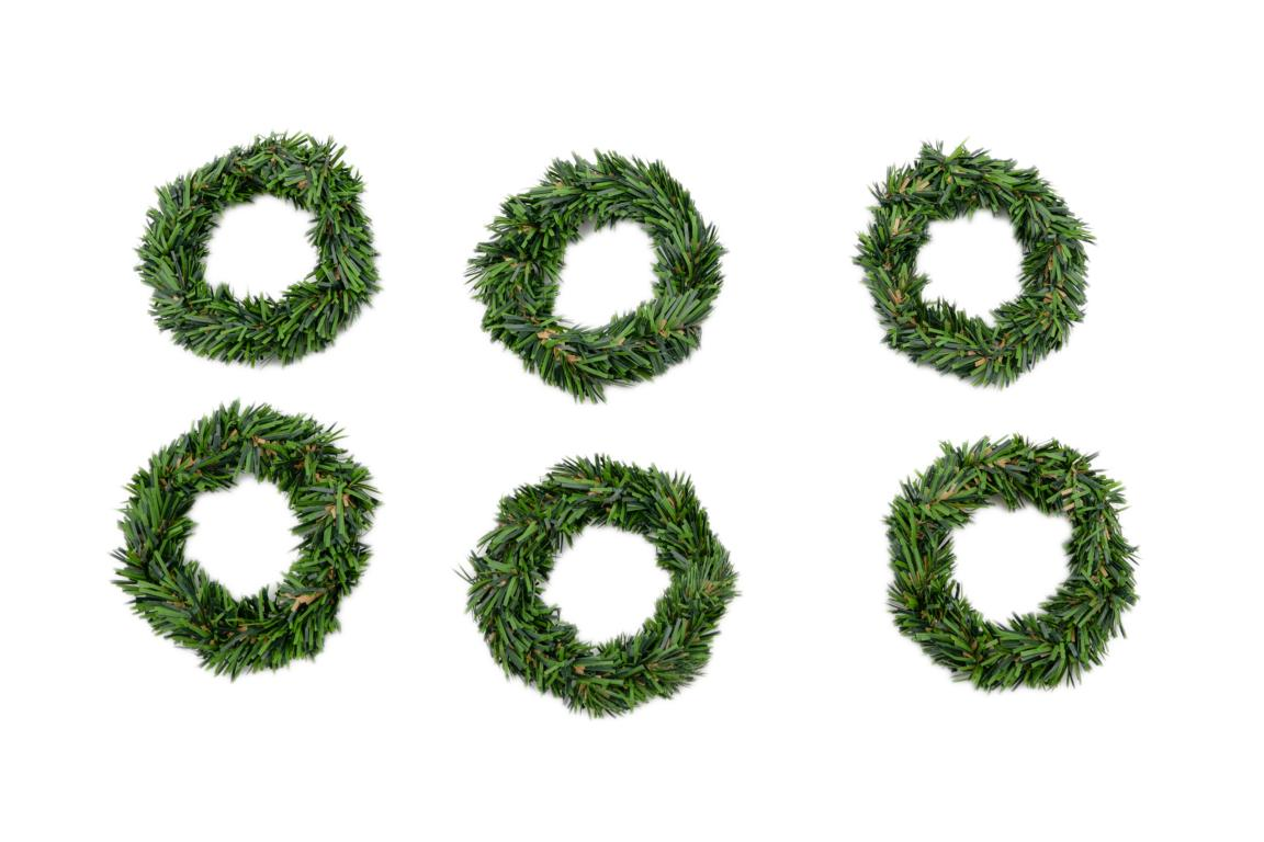 6er Set Kranz/Serviettenring klein, grün, künstlich, D 7cm