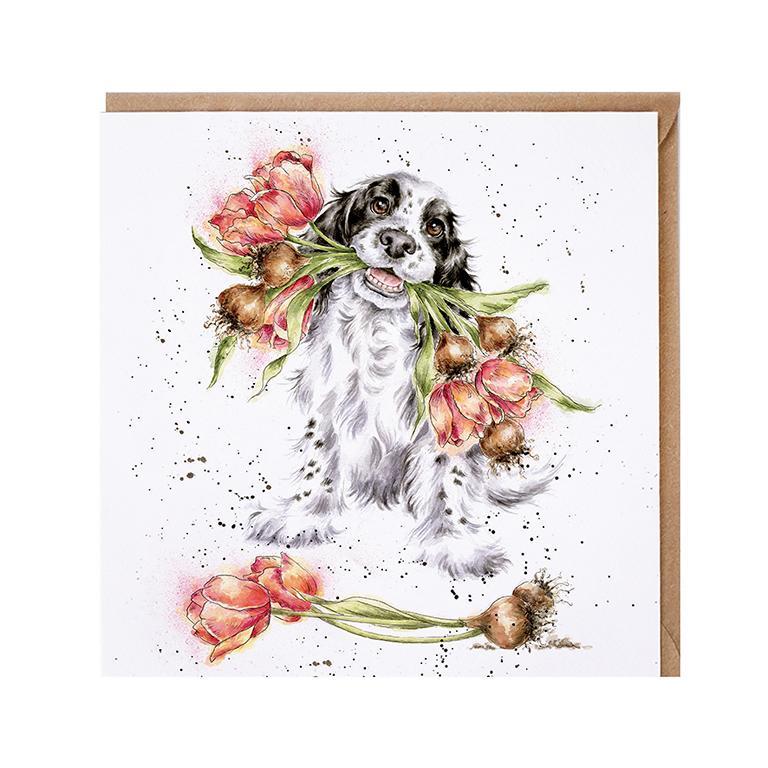 """Wrendale Doppelkarte mit Umschlag, Motiv Hund mit Blumenstrauß im Maul """"Blooming with love"""", 15x15cm"""