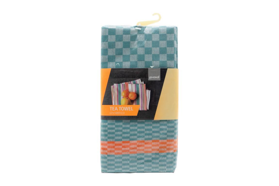 pad Geschirrtuch Pit Reloaded, 2er Pack,  aqua/orange, 50x70 cm