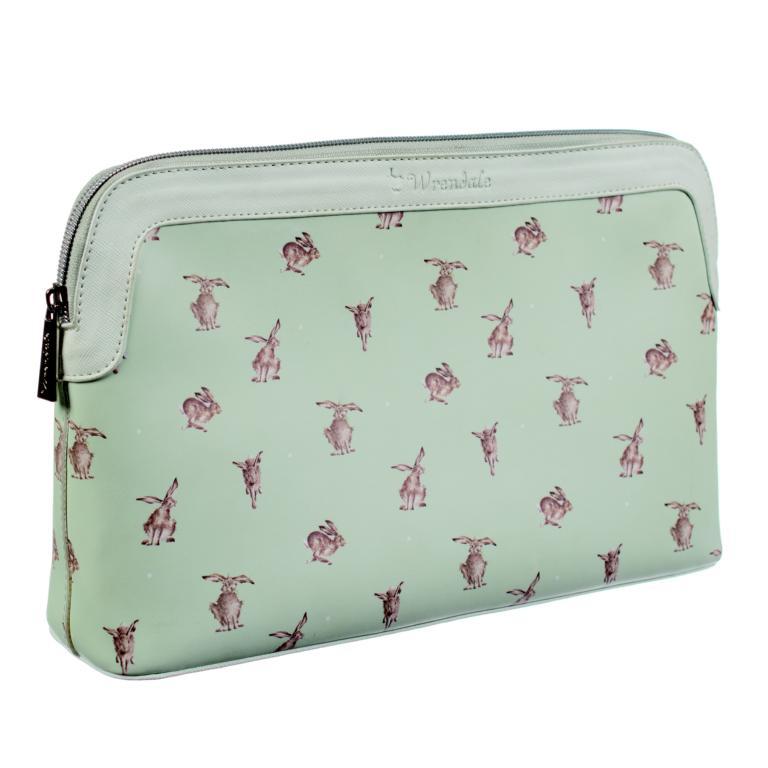 Wrendale Kulturtasche mit Reißverschluss, Motiv Hase rennt, mintgrün, 32x21x8 cm