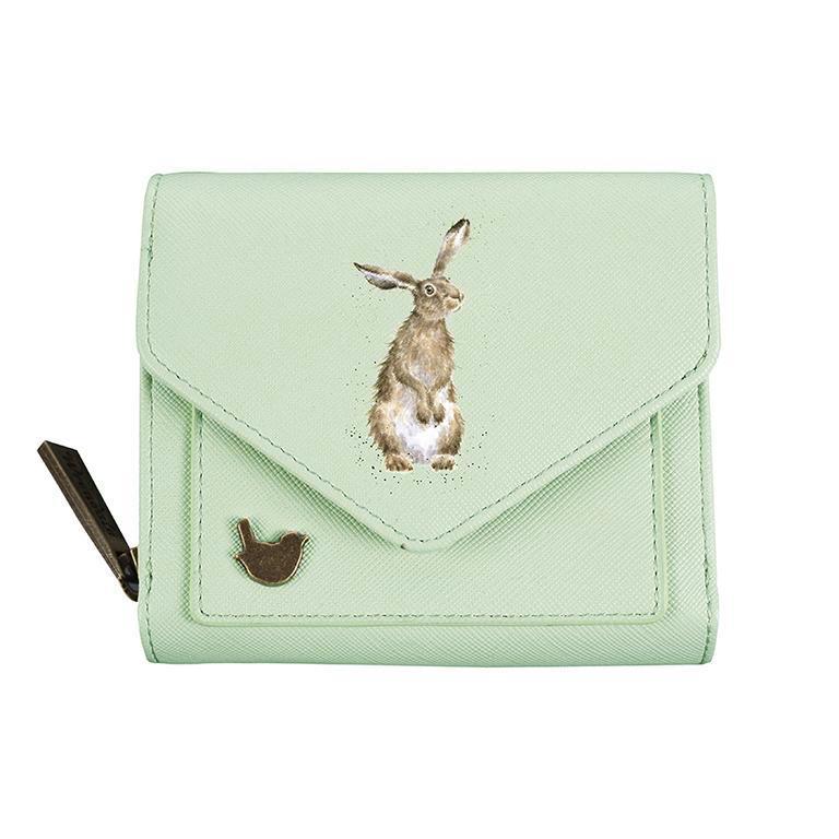 Wrendale Geldbörse klein, mit Druckknopf und Reißverschluss, Motiv Hase, grün, 11x9x3cm