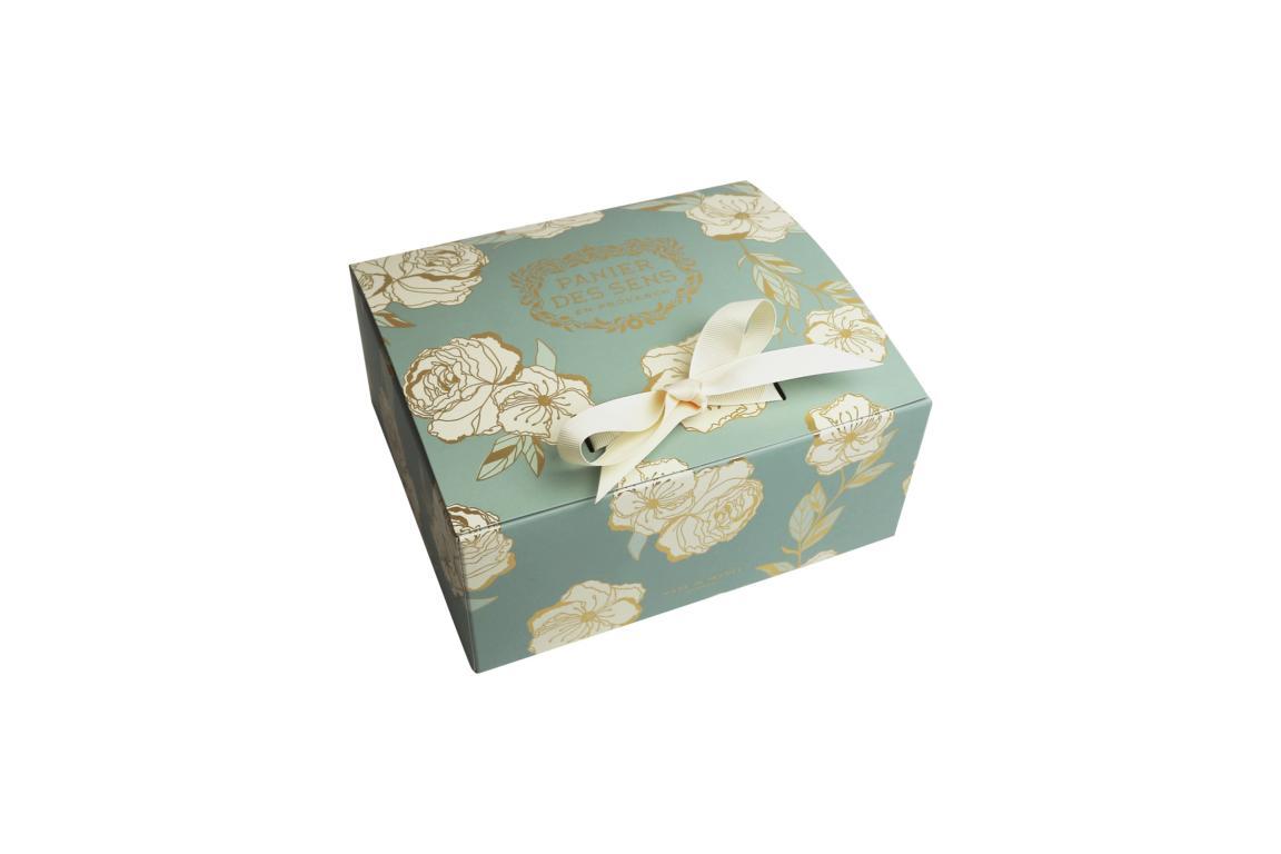 Panier des Sens Geschenkkarton mit Blumenmotiv, 22x19x9,5 cm