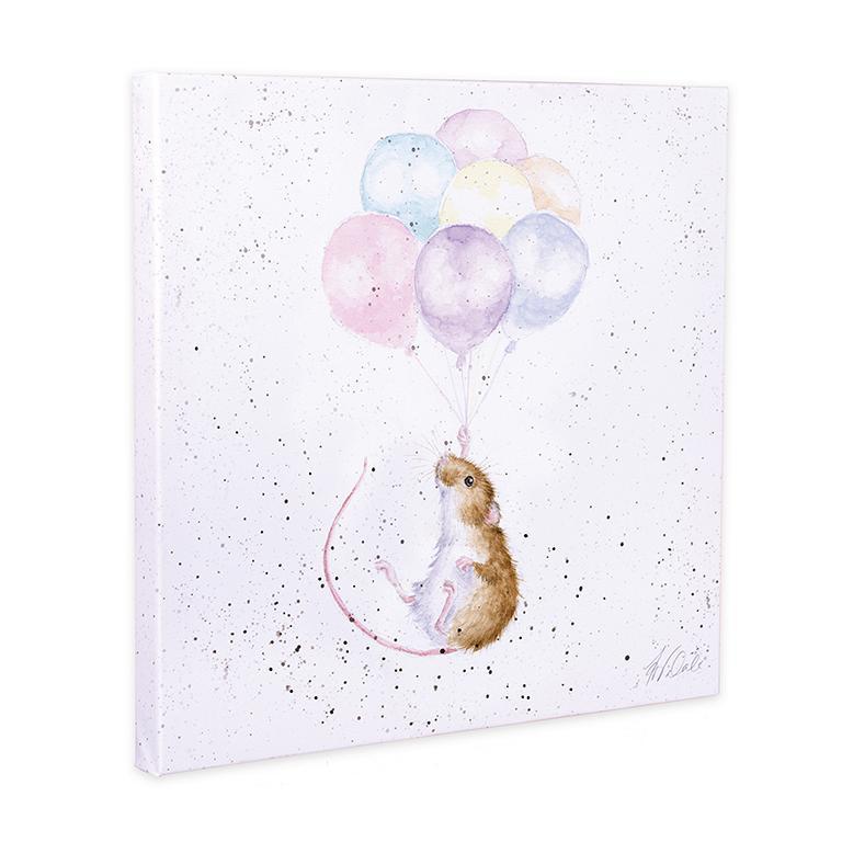 "Wrendale Leinwand medium, Aufdruck Maus mit Luftballons, ""Hold on tight"", 50x50cm"